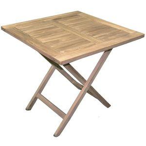 Table de jardin pliante forme carrée en bois teck - Dim : 80 ...