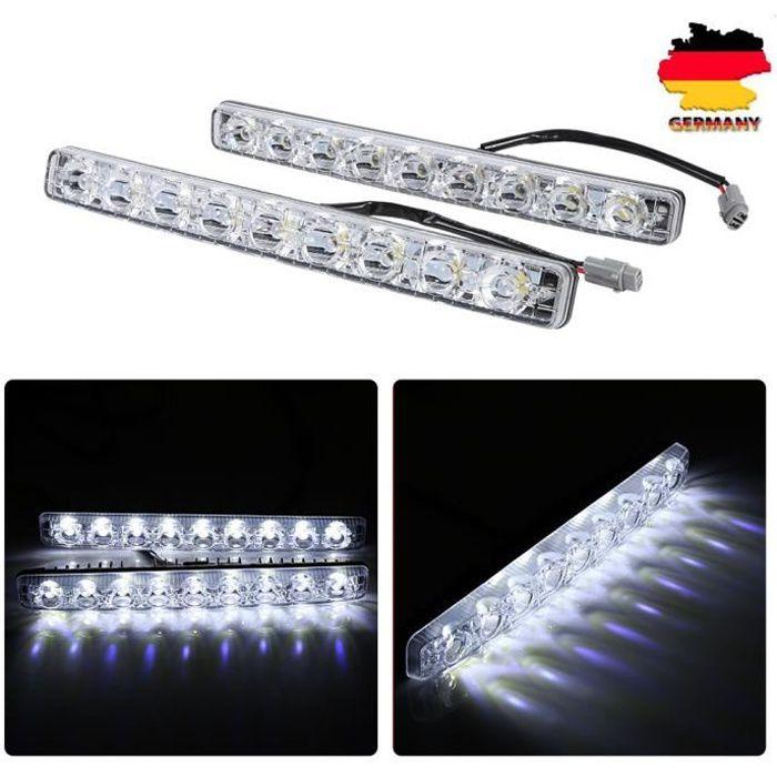 2pcs 9 LED feux diurnes blanc voiture bande LED DRL lumière lampe Brouillard éclairage étanche Feux de circulation diurnes 12 V