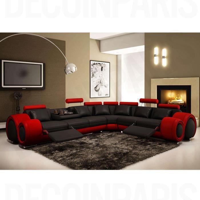 Canapé d'angle cuir noir et rouge + positions relax OSLO (droit)