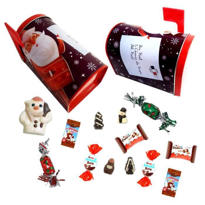 2 Boites aux lettres du Père Noël garnie de 30 chocolats Kinder, Cémoi, moulage - IDEE CADEAU NOEL