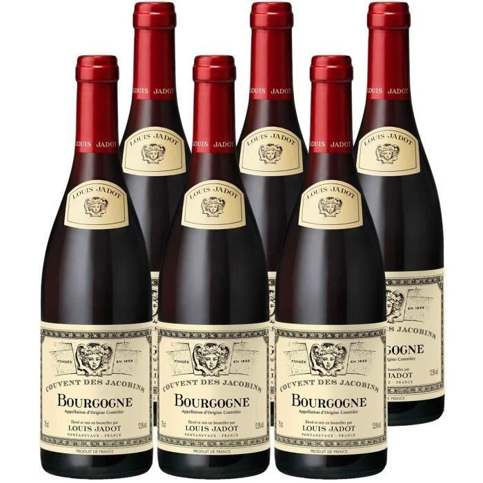 VIN ROUGE Bourgogne Couvent des Jacobins Rouge 2019 - Louis Jadot - Vin AOC Rouge de Bourgogne - Lot de 6x75cl - C&eacutepage P378