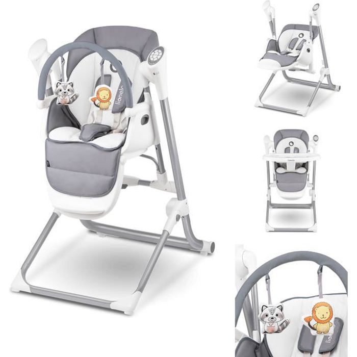 LIONELO Chaise haute bébé Niles évolutive 3en1 avec balancement - Gris