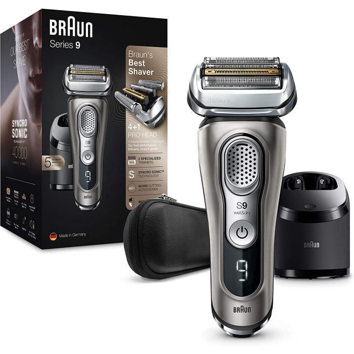 Braun Series 9 9385cc Dernière Génération, Rasoir Électrique Barbe Homme, Station Clean&Charge, Étui Cuir, Graphite, Idée Cadeau Hom