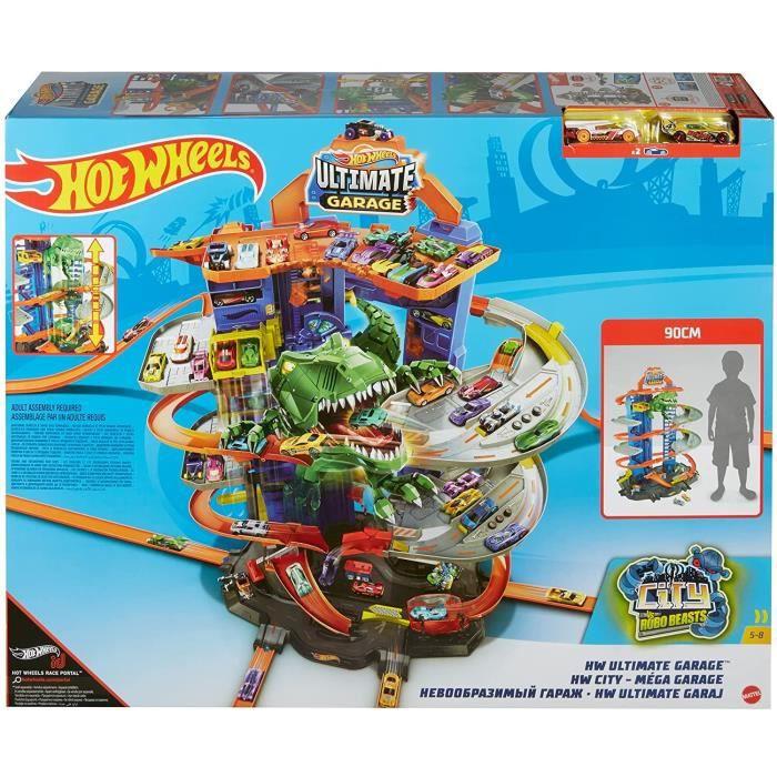 City Super Dino Robot Garage avec T-Rex, pour contenir jusqu'à 100 petites voitures, plusieurs étages et modes de jeu, jouet pour en