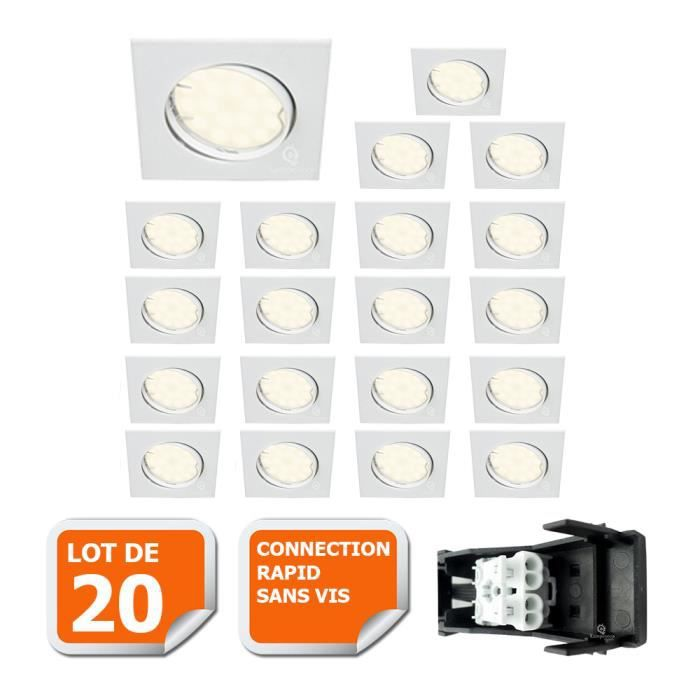 LOT DE 20 SPOT ENCASTRABLE ORIENTABLE CARRE LED SMD GU10 230V BLANC RENDU ENVIRON 50W HALOGENE