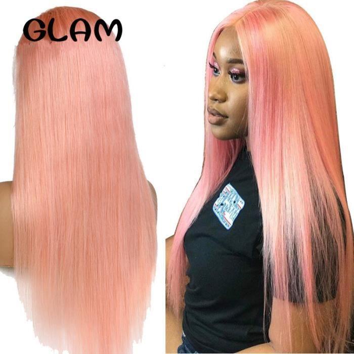12pouce péruvienne Remy cheveux humains couleur rose avant perruque de dentelle pré-plumé lace front cheveux