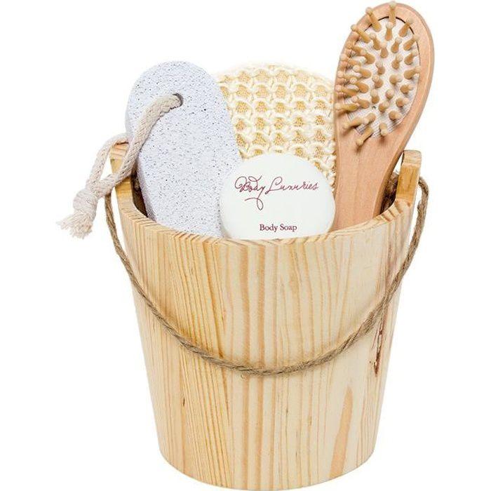 BRUBAKER Coffret de Bain Bien-être dans joli Baquet en bois - 5 Pièces - Pour Femmes ou Hommes
