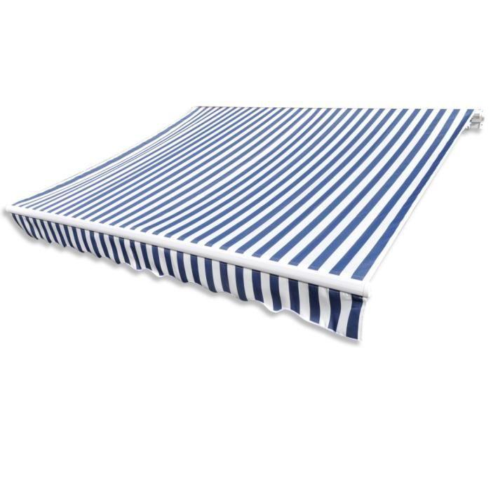 6 x 3 m Store Banne auvent en toile Bleu et Blanc sans cadre Résistant aux UV pour jardin/patio/terrasse