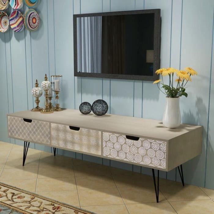 Meuble TV avec 3 Tiroirs Table Basse en Bois Scandinave Design Style simple