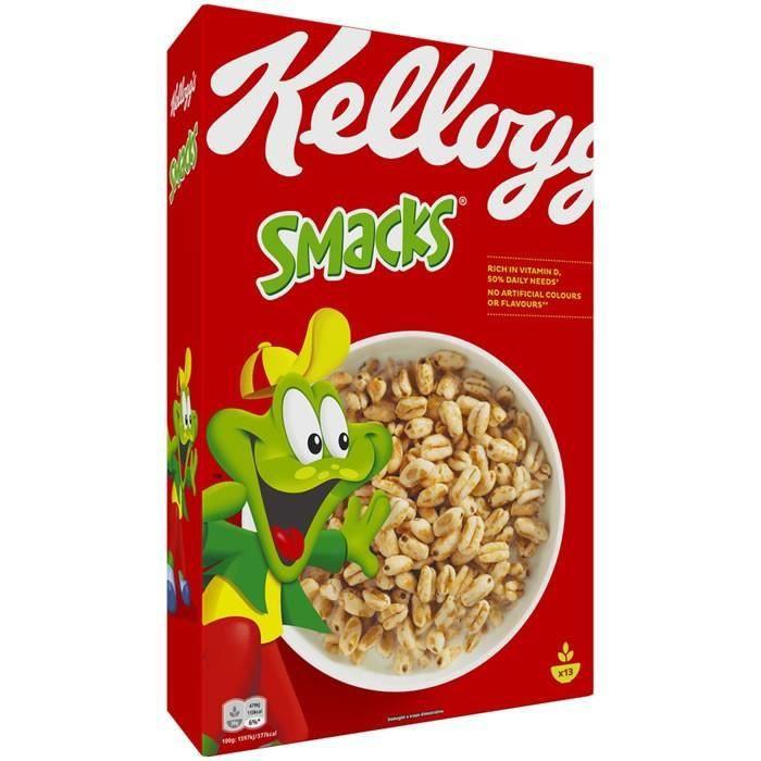 KELLOGG'S SMACKS : Grains de blé soufflés caramélisé 400 g