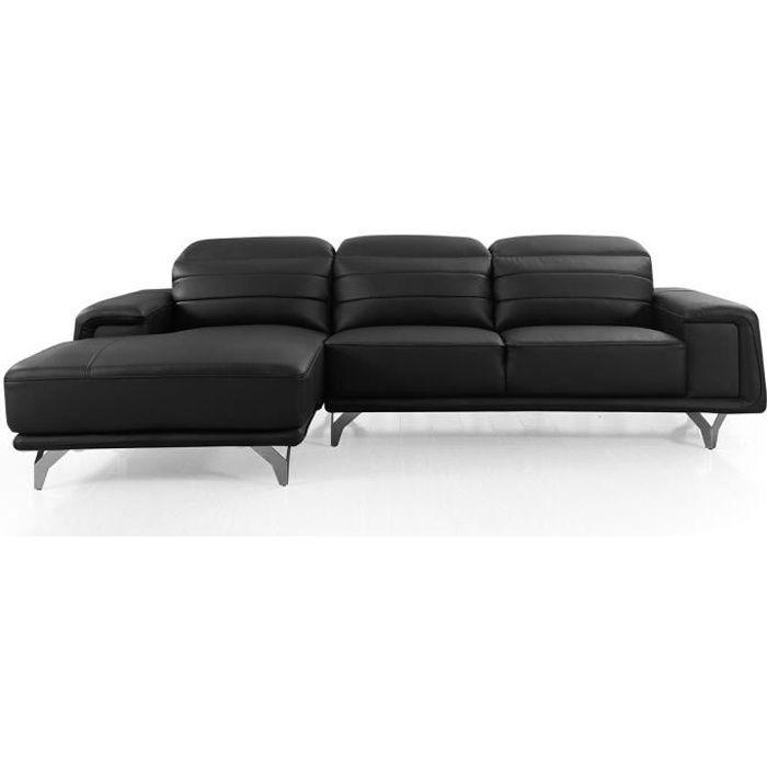 Canapé d'angle gauche en cuir KARL - Noir - Gauche - Noir