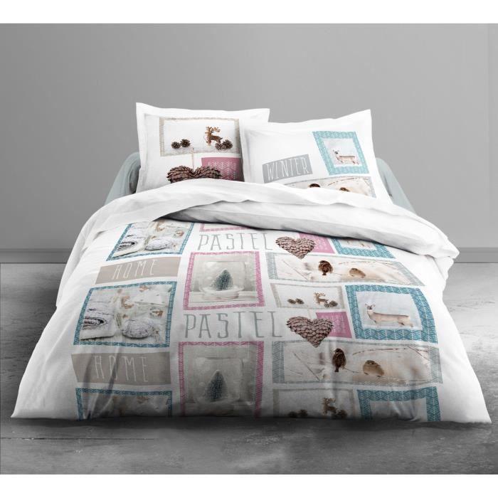 TODAY Parure de couette Enjoy Home Pastel 100% coton - 1 housse de couette 220x240 cm + 2 taies d'oreillers 63x63 cm beige et rose