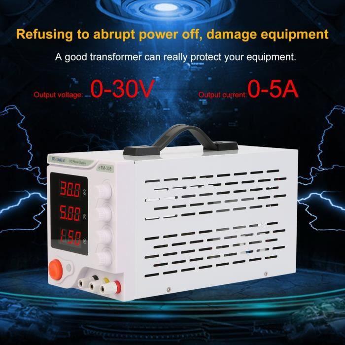 Etm 305 Alimentation Dc 30V 5A Haute Précision Centres de réparation de tests Laboratoire Eu plug