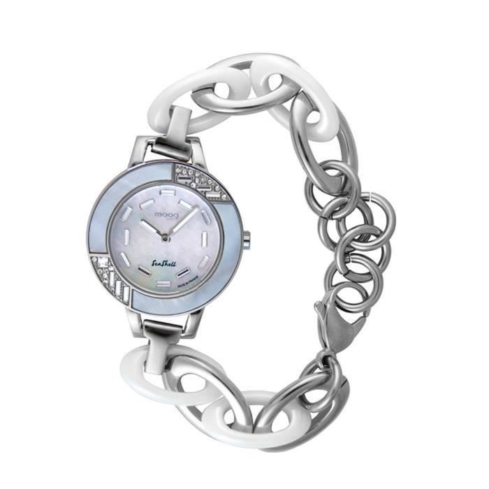 Montre Femme Moog Paris Seashell avec Cadran Blanc, Eléments Swarovski, Bracelet Argenté en Acier Inoxydable et Céramique - M4507...