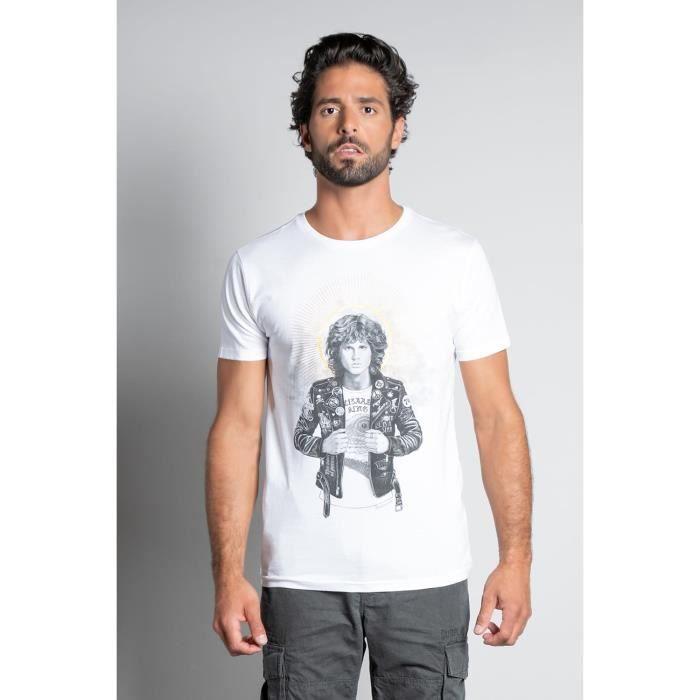 DEELUXE T-shirt col rond avec photo SAINT White