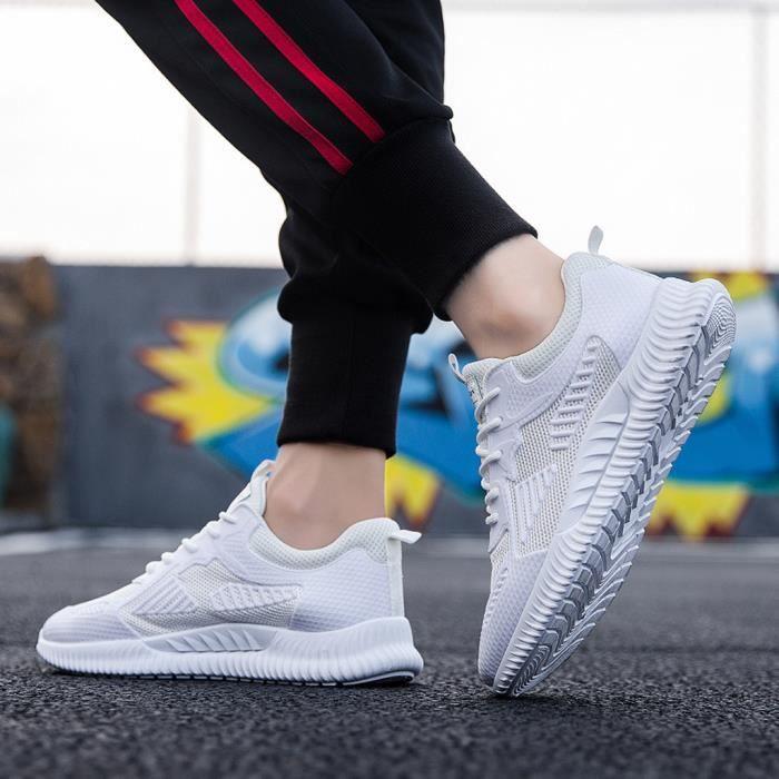 Baskets respirantes tissées pour hommes Chaussures de sport légères à la mode, chaussures de course blanc