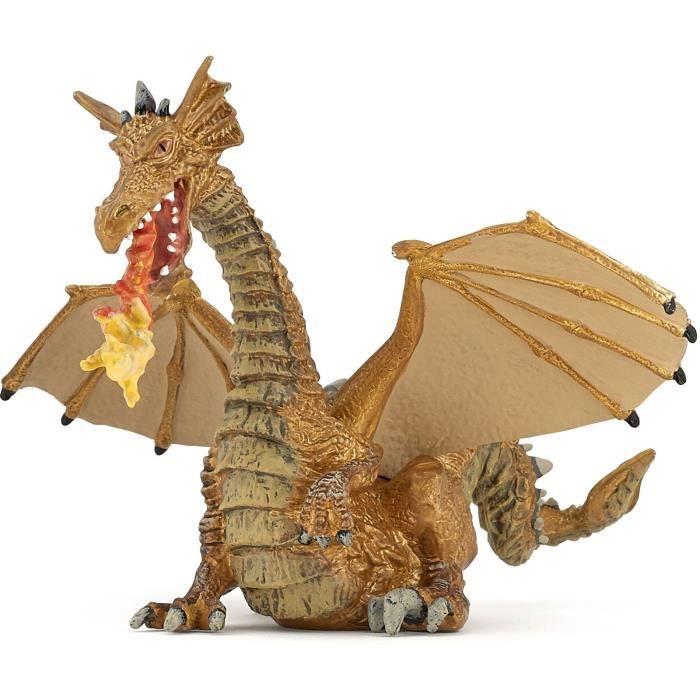 PAPO Figurine Dragon Or avec flamme Pour Enfant