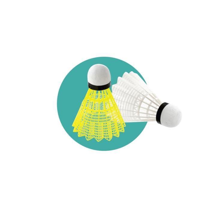Volant badminton base mousse.Boite de 6.Jupe nylon base liège