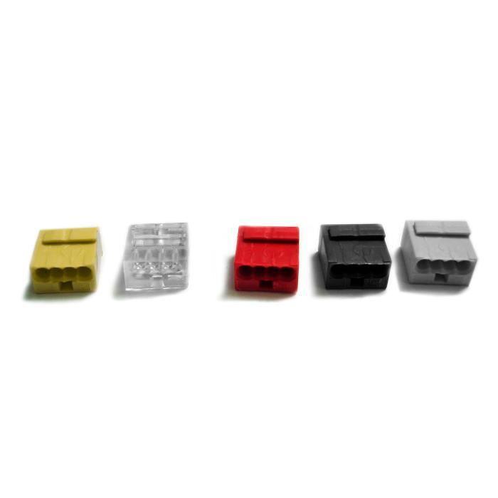 Lot de 5 mini bornes de connexion rapide S243 pour fils rigides téléphoniques - 4 entrées
