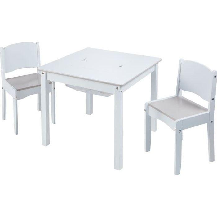 WORLDS APART - Ensemble table créative et 2 chaises blanches pour enfants