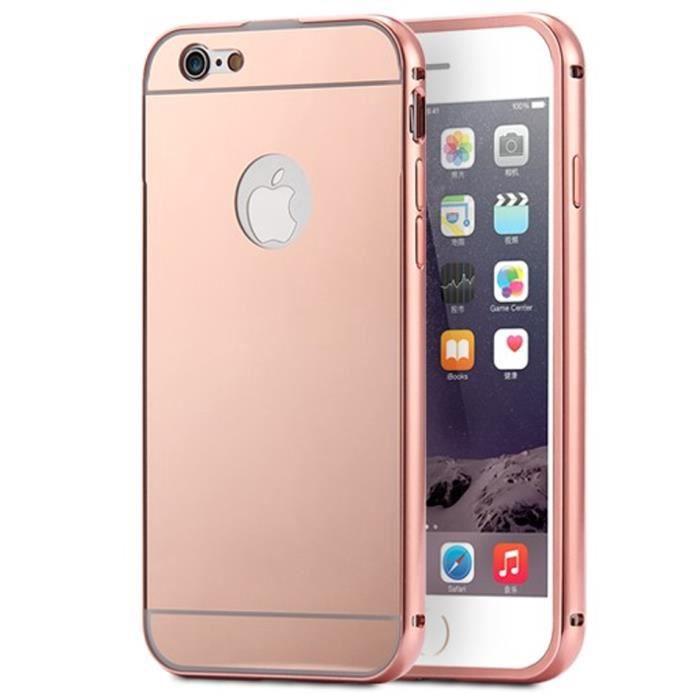 coque iphone 5 5s aluminium miroir coloris rose or