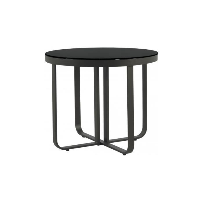 table ronde aluminium gris plateau verre tremp noir 90 achat vente table de jardin table. Black Bedroom Furniture Sets. Home Design Ideas