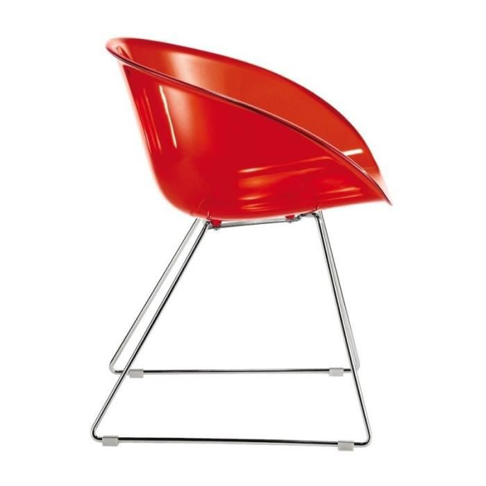 Chaise design transparente rouge for Chaise fly rouge