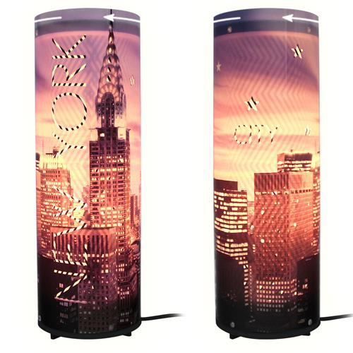lampe anim e new york violet achat vente lampe anim e. Black Bedroom Furniture Sets. Home Design Ideas