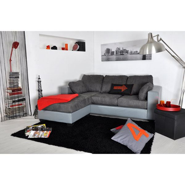 Canap 2 places m ridienne gris angle r versible achat vente canap s - Meridienne deux places ...
