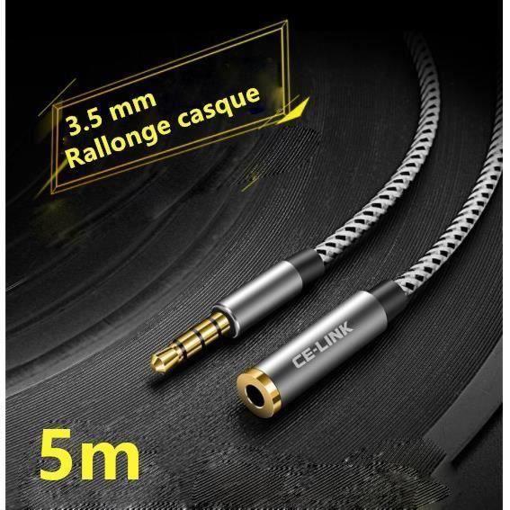 CÂBLE TV - VIDÉO - SON 5m Câble Extension Audio Rallonge Jack pour micro-