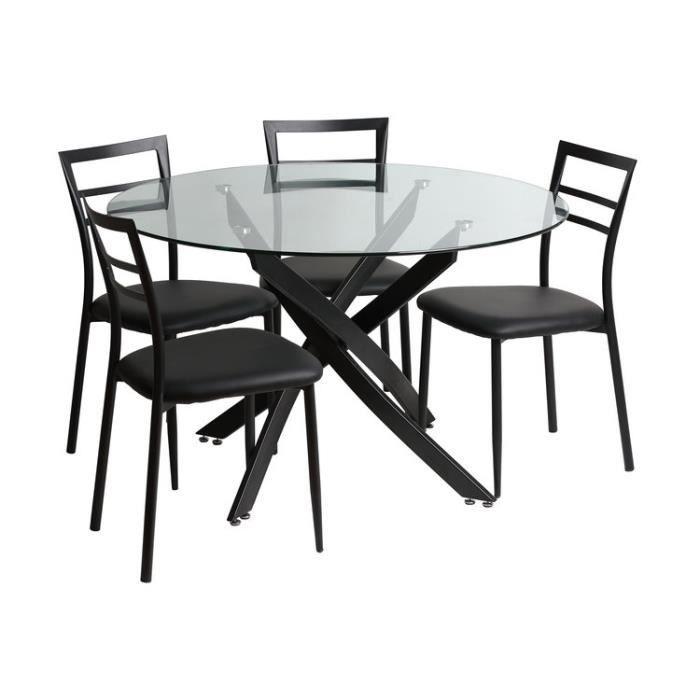 Ensemble table à manger ronde en métal-verre L120cm et 4 ...