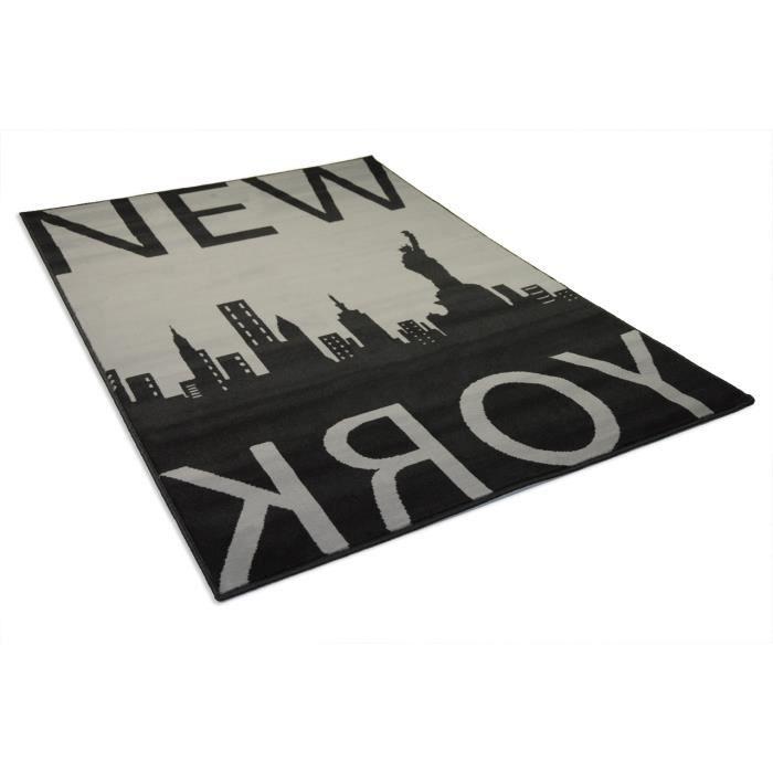 Tapis salon NEW YORK GREY gris noir DEBONSOL - 120x170cm ...