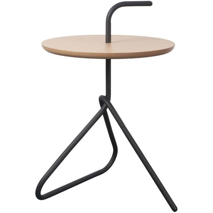 table d 39 appoint bambou et m tal handle couleur bambou achat vente table d 39 appoint table d. Black Bedroom Furniture Sets. Home Design Ideas