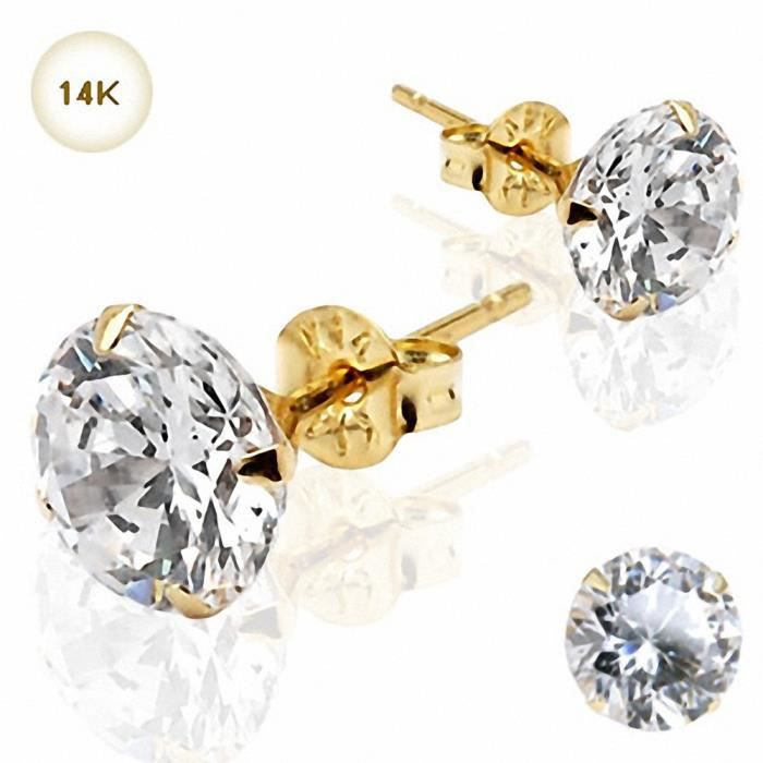 Paire Boucles doreille Clous Pierre Ronde Or Jaune 14K (8 mm)
