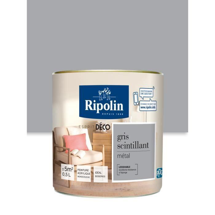 RIPOLIN 375230 Peinture Murale Toutes Pièces - Gris Scintillant Métal, 0,5L