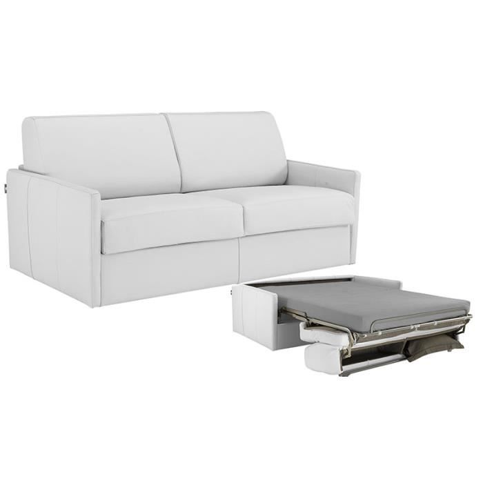 canap convertible star cuir recycl blanc 140x190 achat vente canap sofa divan cuir. Black Bedroom Furniture Sets. Home Design Ideas