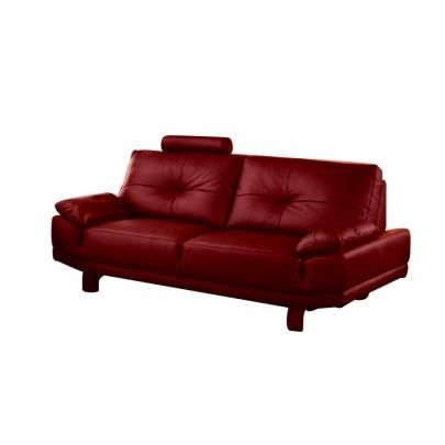 canap 3 places cuir baggio ii rouge achat vente. Black Bedroom Furniture Sets. Home Design Ideas