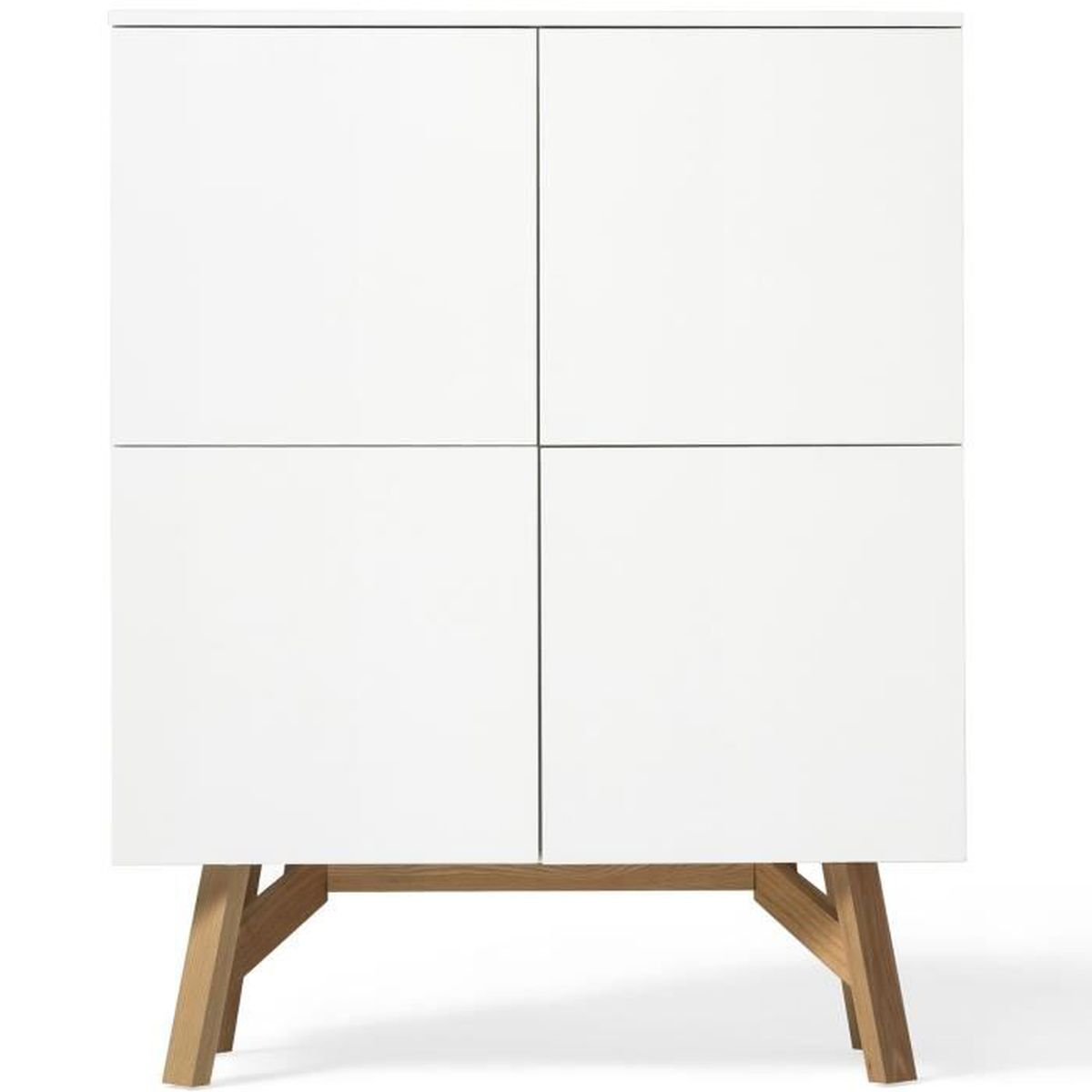 buffet haut design scandinave tycka blanc et pied en fr ne 110cm x 139cm achat vente buffet. Black Bedroom Furniture Sets. Home Design Ideas