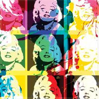 pop art marilyn monroe tableau d co sur glass art 50x50cm. Black Bedroom Furniture Sets. Home Design Ideas