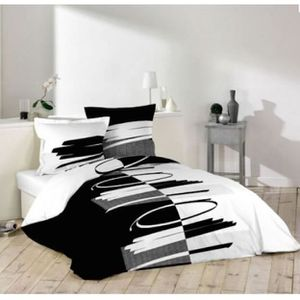 housse de couette 220x240 noir et blanc achat vente. Black Bedroom Furniture Sets. Home Design Ideas