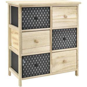 COMMODE DE CHAMBRE Commode 6 tiroirs en bois teinté noir et naturel 6
