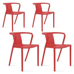 FAUTEUIL JARDIN  Lot de 4 fauteuils de jardin look design en plasti