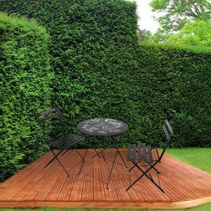 SALON DE JARDIN  Ensemble table + 2 chaises de jardin en métal noir
