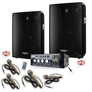 PACK SONO SONO KARAOKE 4 MICROS + AMPLI + 2 ENCEINTES 300W P
