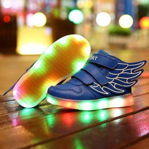 BASKET Enfants LED allumée chaussures simili cuir kids ch