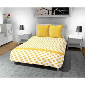 COUETTE Couette imprimee 240x220 cm POIS jaune. Une couett