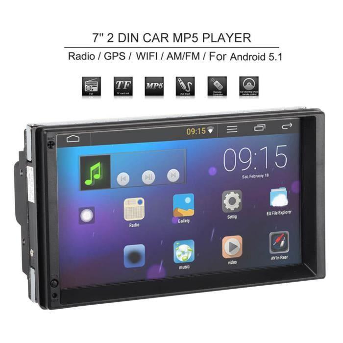 ARAMOX Lecteur MP5 de voiture Voiture 7' 2 Din pour Android 10.0 Radio Stéréo Lecteur MP5 avec Navigation GPS Multimédia BT WIFI