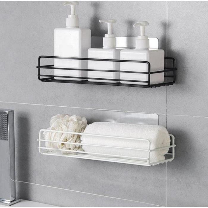 Jetcco Étagère de salle de bain Punch gratuit Support de rangement mural Panier à linge Support de stockage de gel douche blanc
