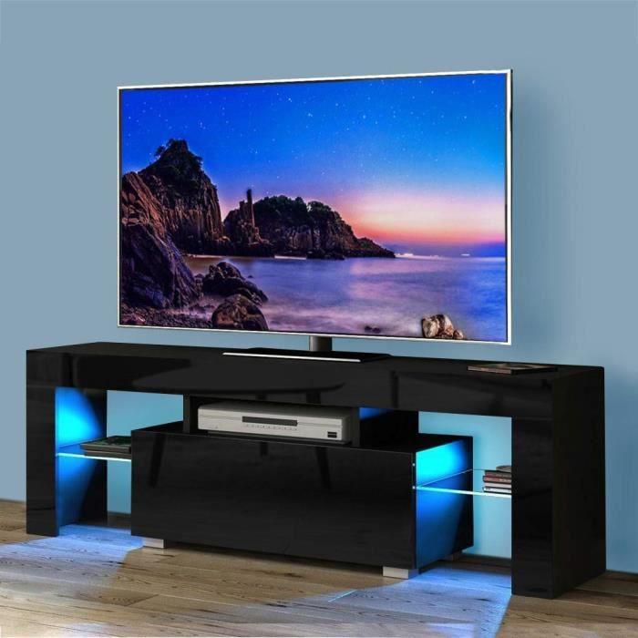 Meuble NOIR TV - LED- 130 cm - noir mat / brillant avec LED - style moderne