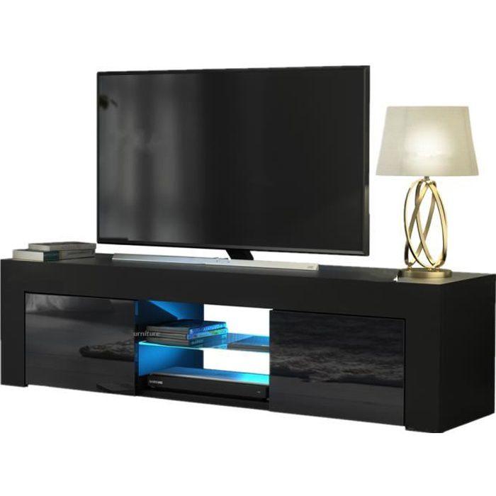 Meuble TV avec LED contemporain décor - L 130 cm - noir - EU plug